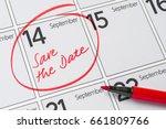 save the date written on a... | Shutterstock . vector #661809766