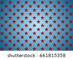 abstract red stars on blue... | Shutterstock . vector #661815358