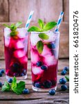 Blueberry Ice Mojito With Mint...