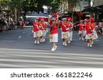 Small photo of BRISBANE, AUSTRALIA - APRIL 25, 2017: Ladies Drum Corps march in the ANZAC parade.