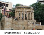 Small photo of BRISBANE, AUSTRALIA - APRIL 25, 2017: People walking to the ANZAC memorial to pay their respects to the sacrifices made in past and present conflicts.