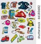 retro telephones set   vector    Shutterstock .eps vector #66183682