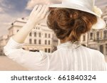 retro styled picture of woman... | Shutterstock . vector #661840324
