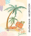 hand drawn holiday travel card. ... | Shutterstock .eps vector #661841104
