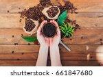 scrub coffee grounds. body care ...   Shutterstock . vector #661847680