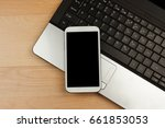 smartphone with black mockup... | Shutterstock . vector #661853053