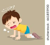 boy crawling have dizziness on... | Shutterstock .eps vector #661855930
