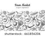 vegetable hand drawn vintage... | Shutterstock .eps vector #661856206