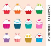 cupcake icon set | Shutterstock .eps vector #661859824