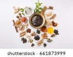 Small photo of Ayurvedic Chyavanprash or Chyawanprash is a Powerful Immunity Booster OR Natural Health Supplement. Served in an Antique bowl with Ingredients, over moody background, selective focus