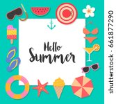 hello summer background with... | Shutterstock .eps vector #661877290