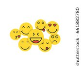 set of yellow emoji like crowd... | Shutterstock .eps vector #661882780