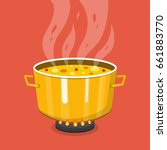 cooking soup in pan. pot on... | Shutterstock .eps vector #661883770