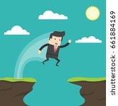 businessman jump through the...   Shutterstock .eps vector #661884169