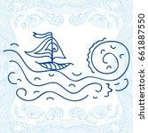 sea and ship. vector... | Shutterstock .eps vector #661887550