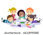 illustration of stickman kids... | Shutterstock .eps vector #661899088