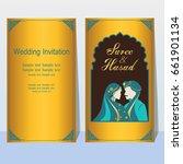 indian wedding invitation card...   Shutterstock .eps vector #661901134