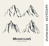 hand drawn mountains. set of... | Shutterstock .eps vector #661902694