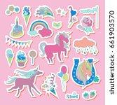 unicorn multicolor stickers...   Shutterstock .eps vector #661903570