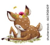 Stock photo cute watercolor cartoon deer on white background 661908409
