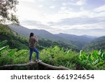 women take mountain pictures... | Shutterstock . vector #661924654