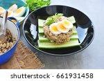 kao pad kra prao or thai rice... | Shutterstock . vector #661931458