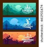 vector desert horizontal banner ...   Shutterstock .eps vector #661931674