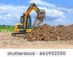 the modern excavator  performs... | Shutterstock . vector #661932550