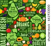 vector fruits and vegetables... | Shutterstock .eps vector #661933000