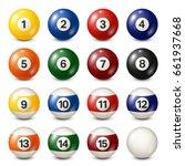 billiard pool balls collection. ... | Shutterstock .eps vector #661937668