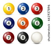 billiard pool balls collection. ... | Shutterstock .eps vector #661937896