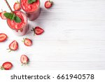 strawberry smoothie in glass on ... | Shutterstock . vector #661940578