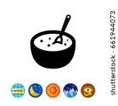 porridge bowl with spoon | Shutterstock .eps vector #661944073