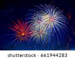 beautiful colorful fireworks on ...   Shutterstock . vector #661944283
