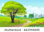 beautiful park outside a busy... | Shutterstock .eps vector #661944640