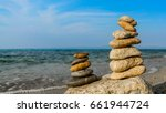 Two Colorful Stone Stacks  Fiv...