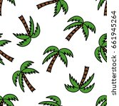 palm tree seamless doodle... | Shutterstock .eps vector #661945264