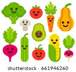 cute cartoon smiling vegetables ... | Shutterstock . vector #661946260