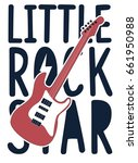 little rock star and guitar... | Shutterstock .eps vector #661950988