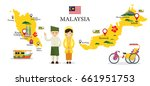 malaysia map and landmarks with ...   Shutterstock .eps vector #661951753