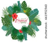hand drawn tropical palm leaves ... | Shutterstock .eps vector #661952560