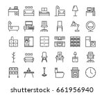 30 furniture outline icon set.... | Shutterstock .eps vector #661956940