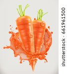 carrot juice. fresh vegetable ... | Shutterstock .eps vector #661961500