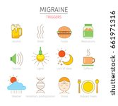 migraine triggers icons set ... | Shutterstock .eps vector #661971316