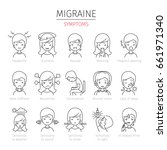 migraine symptoms outline icons ... | Shutterstock .eps vector #661971340