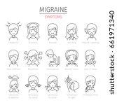 migraine symptoms outline icons ... | Shutterstock .eps vector #661971340