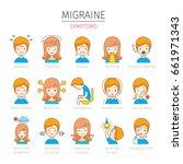 migraine symptoms icons set ... | Shutterstock .eps vector #661971343