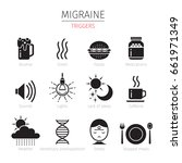 migraine triggers icons set ...   Shutterstock .eps vector #661971349