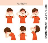 boy with different headache... | Shutterstock .eps vector #661971388