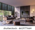 modern loft living room with... | Shutterstock . vector #661977664